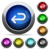 Back arrow round glossy buttons - Back arrow icons in round glossy buttons with steel frames