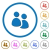 User group icons with shadows and outlines - User group flat color vector icons with shadows in round outlines on white background