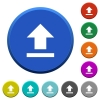 Upload beveled buttons - Upload round color beveled buttons with smooth surfaces and flat white icons