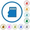 Micro SD memory card icons with shadows and outlines - Micro SD memory card flat color vector icons with shadows in round outlines on white background