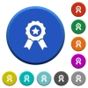 Award with ribbons beveled buttons - Award with ribbons round color beveled buttons with smooth surfaces and flat white icons