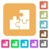 Puzzles rounded square flat icons - Puzzles flat icons on rounded square vivid color backgrounds.