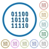 Binary code icons with shadows and outlines - Binary code flat color vector icons with shadows in round outlines on white background
