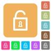 Unlocked padlock rounded square flat icons - Unlocked padlock flat icons on rounded square vivid color backgrounds.