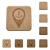 Sea port GPS map location wooden buttons - Sea port GPS map location on rounded square carved wooden button styles