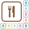 Cutlery simple icons - Cutlery simple icons in color rounded square frames on white background