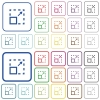 Maximize element outlined flat color icons - Maximize element color flat icons in rounded square frames. Thin and thick versions included.