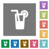 Longdrink square flat icons - Longdrink flat icons on simple color square backgrounds