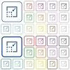 Minimize element outlined flat color icons - Minimize element color flat icons in rounded square frames. Thin and thick versions included.