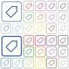 Tag outlined flat color icons - Tag color flat icons in rounded square frames. Thin and thick versions included.
