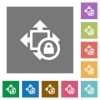 Size lock square flat icons - Size lock flat icons on simple color square backgrounds