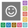 Winking emoticon square flat icons - Winking emoticon flat icons on simple color square backgrounds