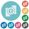 Turkish Lira coins flat round icons - Turkish Lira coins flat white icons on round color backgrounds