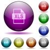 XLS file format glass sphere buttons - XLS file format icons in color glass sphere buttons with shadows