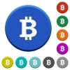 Bitcoin sign beveled buttons - Bitcoin sign round color beveled buttons with smooth surfaces and flat white icons