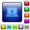 Laptop with yen sign color square buttons - Laptop with yen sign icons in rounded square color glossy button set