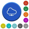 Cloud network beveled buttons - Cloud network round color beveled buttons with smooth surfaces and flat white icons