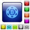 Bitcoin casino chip color square buttons - Bitcoin casino chip icons in rounded square color glossy button set