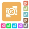 Euro coins rounded square flat icons - Euro coins flat icons on rounded square vivid color backgrounds.