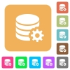 Database configuration rounded square flat icons - Database configuration flat icons on rounded square vivid color backgrounds.