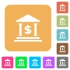 Dollar bank office rounded square flat icons - Dollar bank office flat icons on rounded square vivid color backgrounds.
