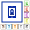 Mobile charging flat framed icons - Mobile charging flat color icons in square frames on white background