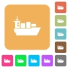 Sea transport rounded square flat icons - Sea transport flat icons on rounded square vivid color backgrounds.