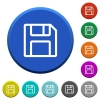 Save beveled buttons - Save round color beveled buttons with smooth surfaces and flat white icons