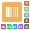Barcode rounded square flat icons - Barcode flat icons on rounded square vivid color backgrounds.