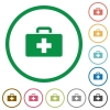 First aid kit flat icons with outlines - First aid kit flat color icons in round outlines on white background