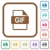 GIF file format simple icons - GIF file format simple icons in color rounded square frames on white background