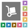 Hand truck square flat icons - Hand truck flat icons on simple color square backgrounds