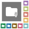 Folder information square flat icons - Folder information flat icons on simple color square backgrounds