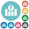Indian Rupee graph flat round icons - Indian Rupee graph flat white icons on round color backgrounds