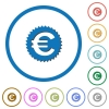 Euro sticker icons with shadows and outlines - Euro sticker flat color vector icons with shadows in round outlines on white background