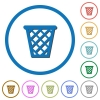 Trash icons with shadows and outlines - Trash flat color vector icons with shadows in round outlines on white background