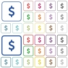 Dollar sign outlined flat color icons - Dollar sign color flat icons in rounded square frames. Thin and thick versions included.