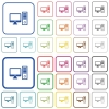 Desktop computer outlined flat color icons - Desktop computer color flat icons in rounded square frames. Thin and thick versions included.