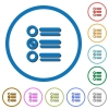 Radio group icons with shadows and outlines - Radio group flat color vector icons with shadows in round outlines on white background