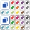 Overlapping elements outlined flat color icons - Overlapping elements color flat icons in rounded square frames. Thin and thick versions included.