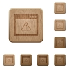 Application warning wooden buttons - Application warning on rounded square carved wooden button styles