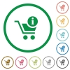 Cart item info flat icons with outlines - Cart item info flat color icons in round outlines on white background