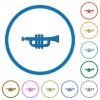 Trumpet icons with shadows and outlines - Trumpet flat color vector icons with shadows in round outlines on white background