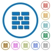 Brick wall icons with shadows and outlines - Brick wall flat color vector icons with shadows in round outlines on white background
