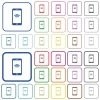 Cellphone with wireless network symbol outlined flat color i - Cellphone with wireless network symbol color flat icons in rounded square frames. Thin and thick versions included.