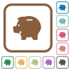 Piggy bank simple icons - Piggy bank simple icons in color rounded square frames on white background