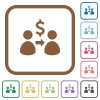 Send dollars simple icons - Send dollars simple icons in color rounded square frames on white background