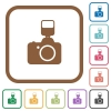 Camera with flash simple icons - Camera with flash simple icons in color rounded square frames on white background