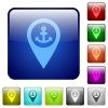 Sea port GPS map location color square buttons - Sea port GPS map location icons in rounded square color glossy button set