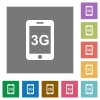 Third gereration mobile network square flat icons - Third gereration mobile network flat icons on simple color square backgrounds